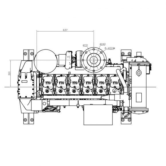 Motor-Marino-YTO-YM6S4W-C260-arriba